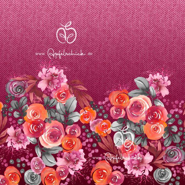 Herringbone Roses Pink BIO-Eigenproduktion (kbA)