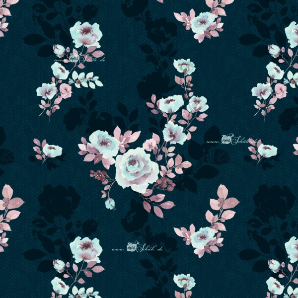 Herringbone Shadow Flowers Blue BIO-Eigenproduktion (kbA)