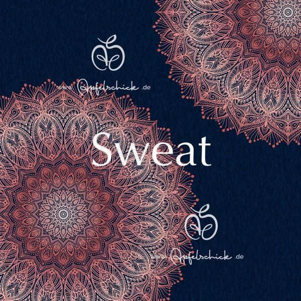 Sweat Big Mandala Marine-Rosé BIO-Eigenproduktion (kbA)