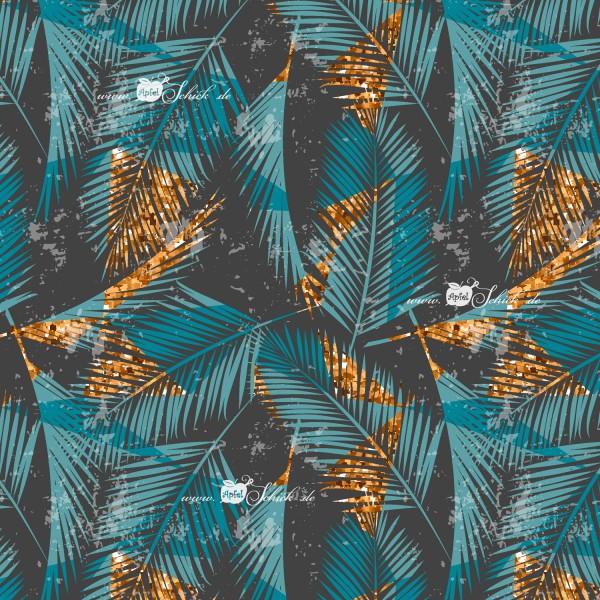 Palm Leaves Petrol BIO-Eigenproduktion (kbA)
