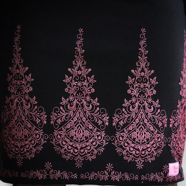 Glitzer Embroidery Schwarz-Rosa BIO-Eigenproduktion (kbA)