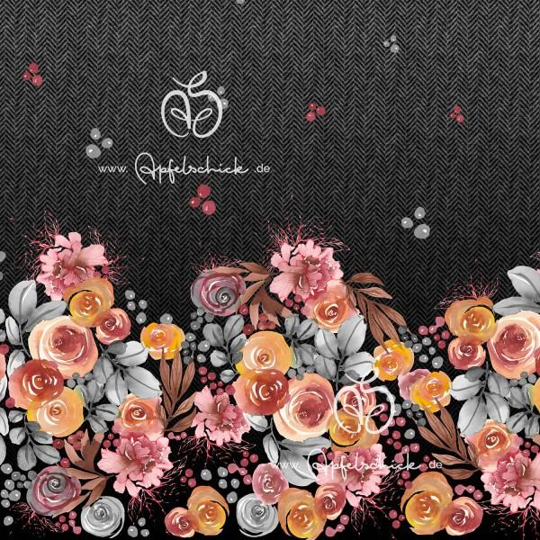 Herringbone Roses Grau-Bunt BIO-Eigenproduktion (kbA)