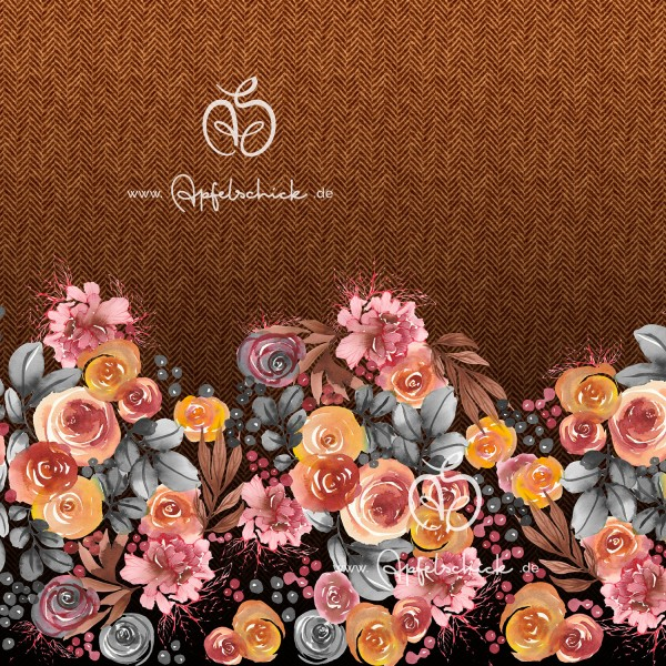 Herringbone Roses Karamell-Bunt BIO-Eigenproduktion (kbA)