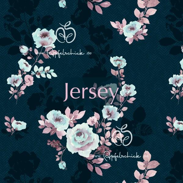 JERSEY Herringbone Shadow Flowers Blue BIO-Eigenproduktion (kbA)