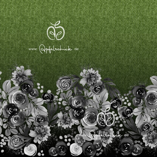 Herringbone Roses Grün BIO-Eigenproduktion (kbA)