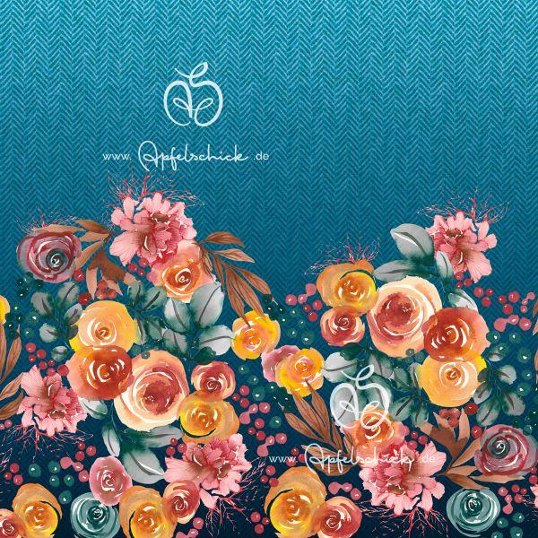 Herringbone Roses Türkis BIO-Eigenproduktion (kbA)