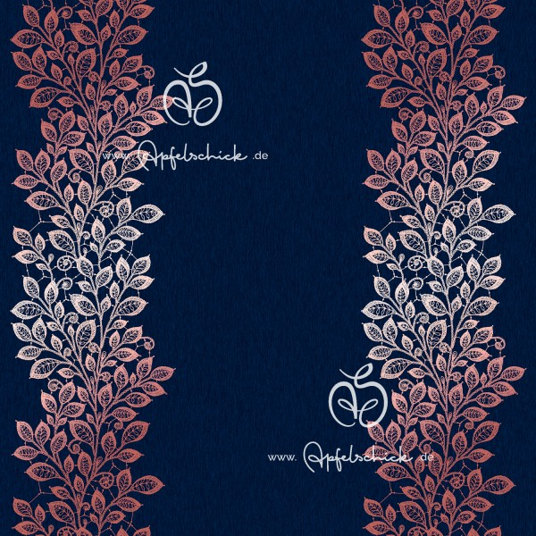 Lace Leaves Navy-Rosé BIO-Eigenproduktion (kbA)