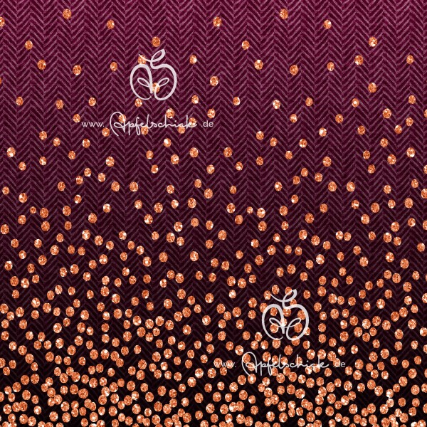 Herringbone Dots Beere-Kupfer BIO-Eigenproduktion (kbA)