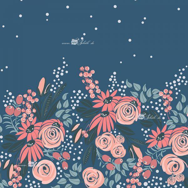 Big Flower Dress Rauchblau BIO-Eigenproduktion (kbA)