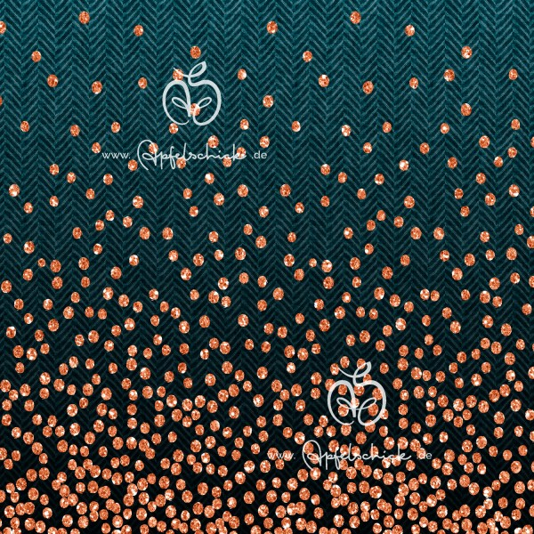 Herringbone Dots Petrol-Kupfer BIO-Eigenproduktion (kbA)