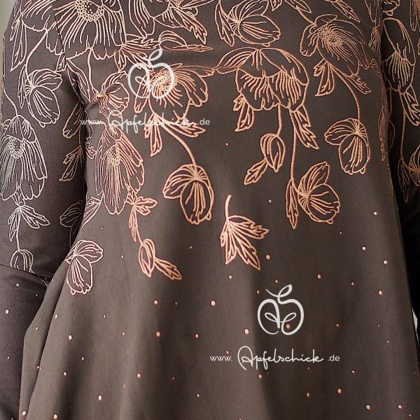 Poppies Dress Braun-Kupfer BIO-Eigenproduktion (kbA)
