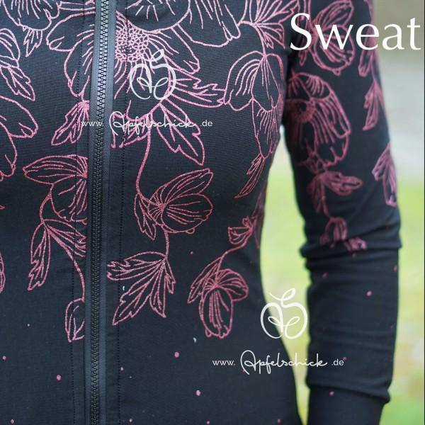 Poppies Dress Schwarz-Rosa BIO-Eigenproduktion (kbA)