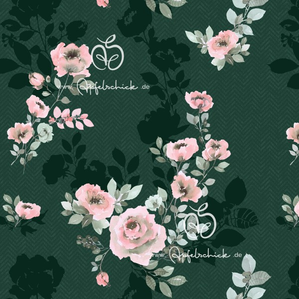SWEAT Herringbone Shadow Flowers Green BIO-Eigenproduktion (kbA)